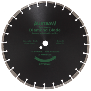 Austsaw Diamond Segmented 350x25 or 20 Bore
