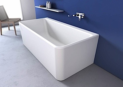 Cube 1800 Wall Faced Free Standing Bath White